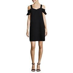 Worthington Short Sleeve Floral Shift Dress-Tall