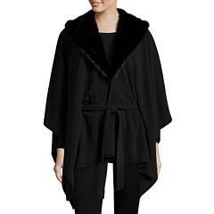 Mixit™ Fleece Ruana with Faux Fur Collar