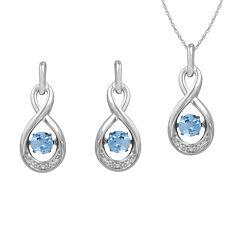 Love in Motion™ Genuine Blue Topaz & Lab-Created White Sapphire Jewelry Set