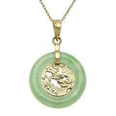 Green Jade 14K Yellow Gold Pendant Necklace