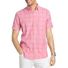 IZOD Short Sleeve Windowpane Chambray Button Front Shirt