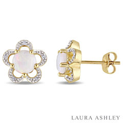 Laura Ashley Diamond Accent Round White Opal 10K Gold Stud Earrings