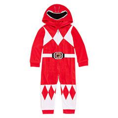 Power Rangers Boys Sleepwear Long Sleeve Power Rangers Footed Pajamas-Toddler Boys