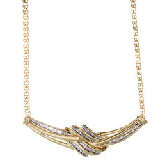 1/2 CT. T.W. Diamond Swirl Baguette 10K Yellow Gold Necklace