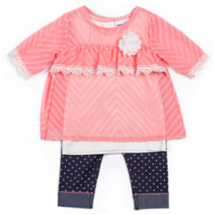 Little Lass Girls 3-Pc. Coral Chiffon Legging Set