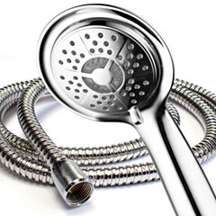 PowerSpa® All-Chrome LED Handheld Shower with Air Jet LED Turbo Pressure-Boost Nozzle Technology
