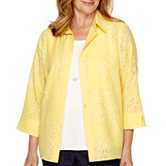 Alfred Dunner® Sausalito 3/4-Sleeve Burnout Layered Top