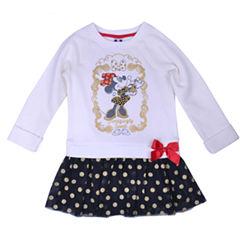 Disney by Okie Dokie Short Sleeve Minnie Mouse Pattern A-Line Dress - Toddler Girls