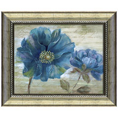 Blue Poppy Poem I Framed Wall Art