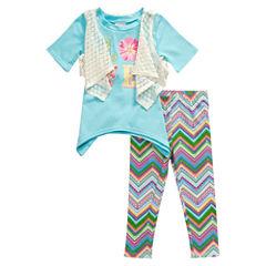 Young Land 3-pc. Legging Set-Preschool Girls