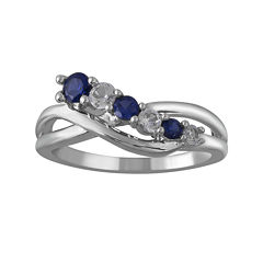 Lab-Created White and Blue Sapphire Crossover Sterling Silver Ring