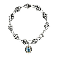 Shey Couture Genuine Swiss Blue Topaz Sterling Silver and 14k gold Bracelet