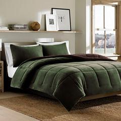 Eddie Bauer® Reversible Premium Fleece Dark PineComforter Set
