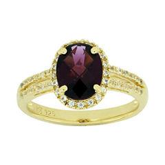 Genuine Garnet & Lab-Created White Sapphire Ring