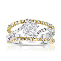 Womens 1 1/4 CT. T.W. Genuine White Diamond 14K Gold Bypass Ring