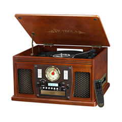 Victrola VTA-600B Wooden 8-in-1 Nostalgic Record Player with Bluetooth and USB Encoding
