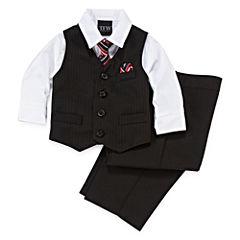 4-pc Stripped Vest Set - Baby Boys 3m-24m
