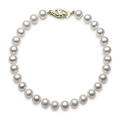 14K Yellow Gold Genuine Akoya Pearl Bracelet
