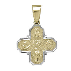 Tesoro™ 14K Two-Tone Gold Four Way Cross Pendant
