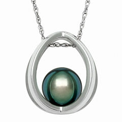 Genuine Tahitian Pearl Sterling Silver Suspended Pendant Necklace