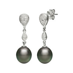 Genuine Tahitian Pearl and Diamond-Accent Sterling Silver Linear Drop Earrings