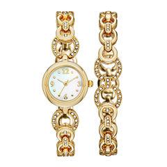 Womens Crystal-Embellished Open-Link Watch and Bracelet Set