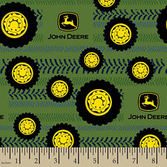 John Deere Tires On Tread Flannel Fabric By the Yard