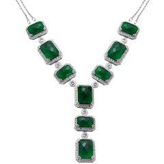 Alexandra Gem Green Crystal Y Necklace Sterling Silver