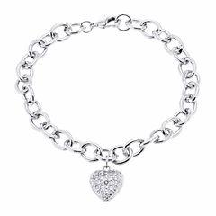 Sparkle Allure Silver Plated Diamond Accent Heart Charm Bracelet