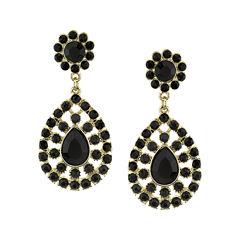 1928® Black Gold-Tone Statement Earrings