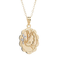 10K Yellow Gold Oval Dove Pendant Necklace