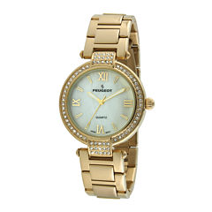 Peugeot® Womens Crystal-Accent Gold-Tone Bezel Gold-Tone T-Bar Bracelet Watch