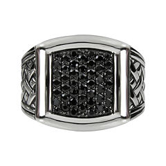 Mens Genuine Black Sapphire Basketweave Sterling Silver Ring