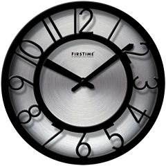 FirsTime® Black-on-Steel Wall Clock