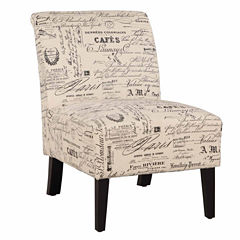 Lily Script Fabric Slipper Chair