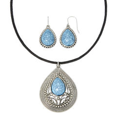 Mixit™ Blue and Antique Silver-Tone Teardrop Jewelry Set