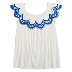 Arizona Off Shoulder Scalloped Top - Girls 7-16 and Plus