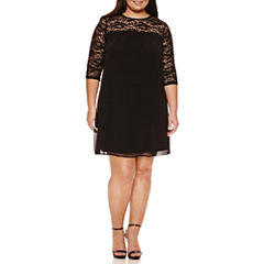 Luxology 3/4 Sleeve Lace Sheath Dress-Plus