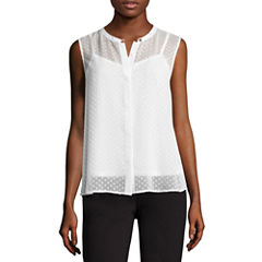 Liz Claiborne Sleeveless Button-Front Back Peplum Top