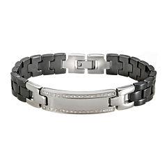 Mens Black Ceramic & Stainless Steel Diamond Bracelet