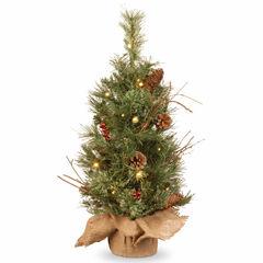 National Tree Co. 2 Foot Glistening Pine Burlap Pre-Lit Christmas Tree