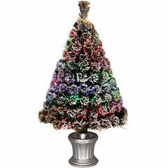 National Tree Co. 3 Foot Evergreen Flocked Pre-Lit Flocked Christmas Tree
