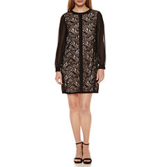 London Times Long Sleeve Lace Shift Dress-Petites