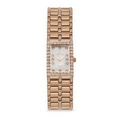 Croton Womens Diamond-Accent Square Rose Gold-tone Bracelet Watch