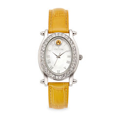 Croton Womens November Birthstone Crystal-Accent Yellow Leather Strap Watch