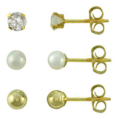 Girls Ball Stud 3-pr. Earring Set