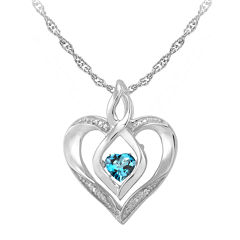 Love in Motion™ Genuine Topaz and Diamond-Accent Heart Pendant Necklace