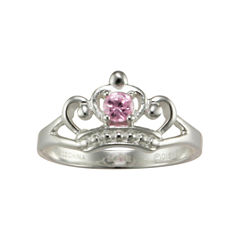 Disney Girls Pink Cubic Zirconia Princess Crown Ring