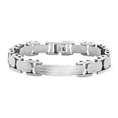 Mens Stainless Steel Diamond-Accent ID Bracelet