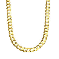 10K Yellow Gold 10MM Curb Necklace 26